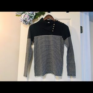J. CREW Painter B/W Stripe Turtleneck - Small (S)